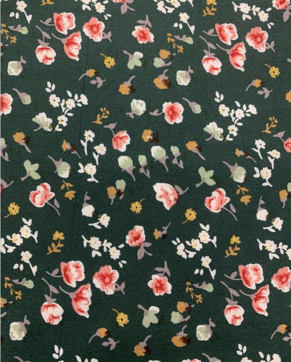 rayon challis hunter green mini floral fabric