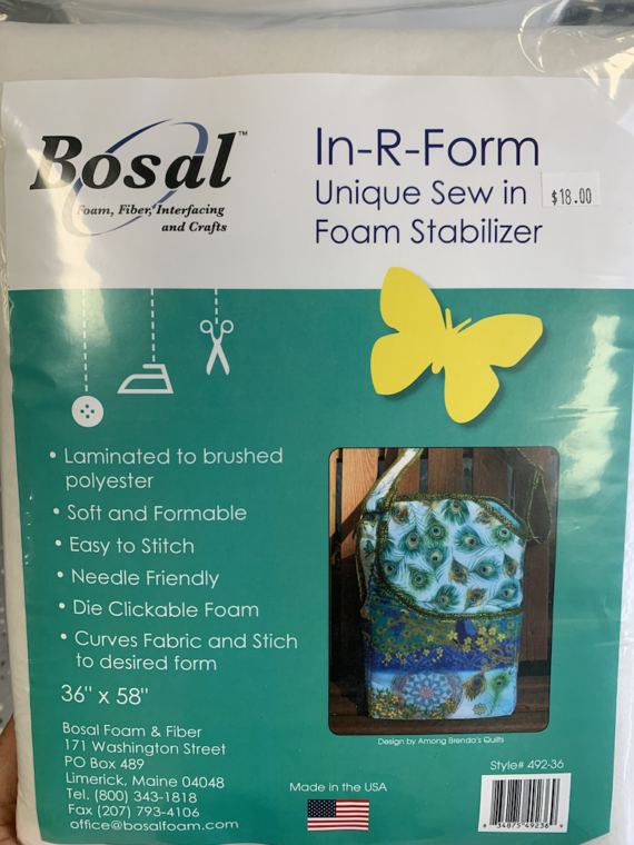 "foam interfacing in-r-form bosal 36"" x 58"""