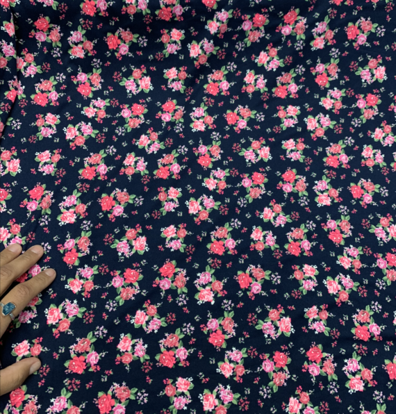 Navy & Pink Floral DBP fabric