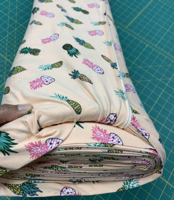 pineapples on coral dbp fabric