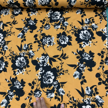 Black & White Floral on Mustard DBP fabric
