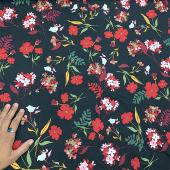 Red floral on black DBP fabric