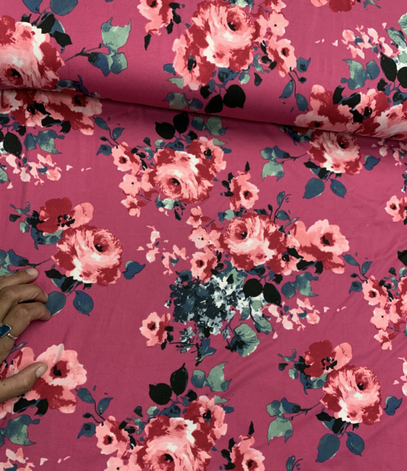 Large Floral on Pink DBP fabric