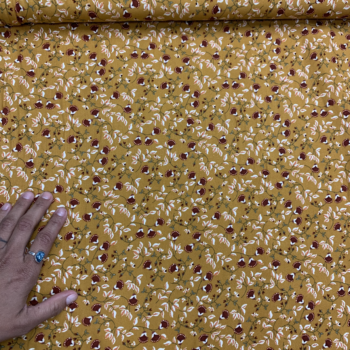 Small floral on mustard dbp fabric