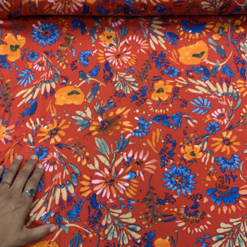 orange & blue floral on red dbp fabric