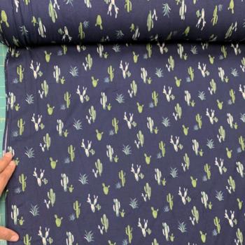 cactus print on navy blue dbp fabric