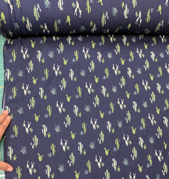 cactus print on navy blue dbp fabric