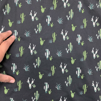 cactus print on black dbp fabric