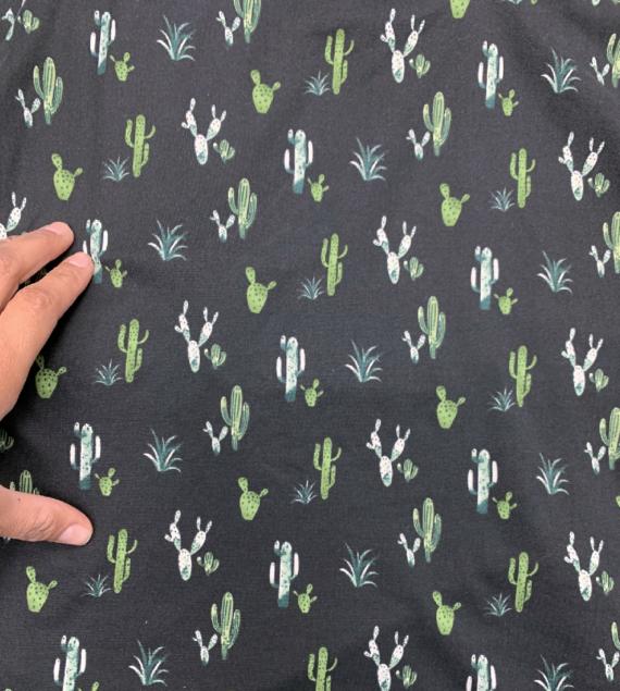cactus print on black dbp fabric