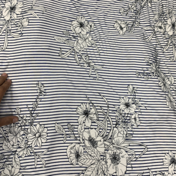 rayon jersey navy stripe and floral on white fabric