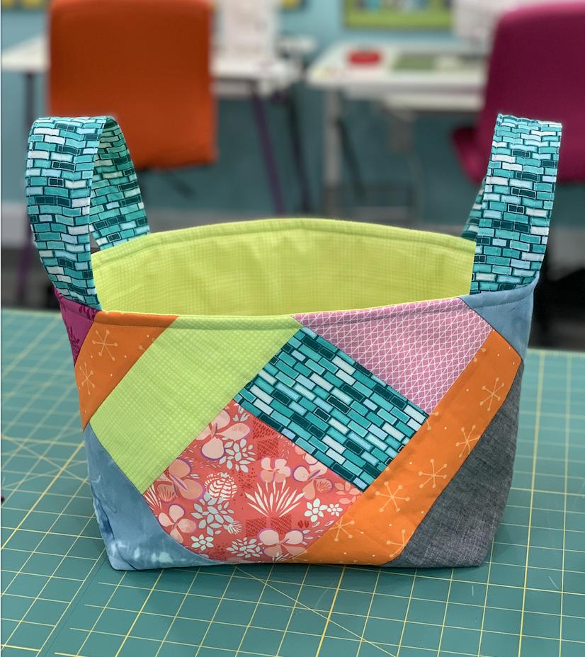 quilt as you go fabric scrap basket