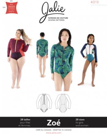 jalie 4013 ZOE Long-Sleeve Front-Zip Swimsuit