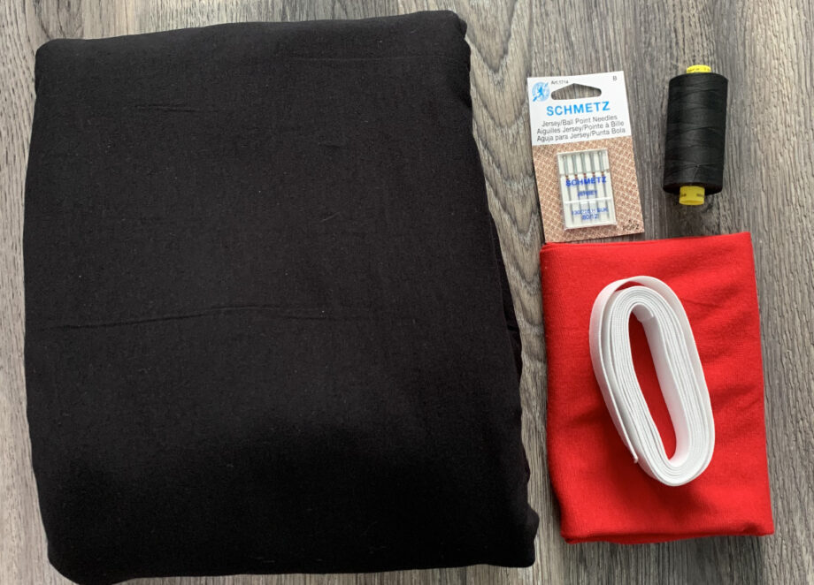 solid black cotton spandex with red ribbing jeanne pj kit