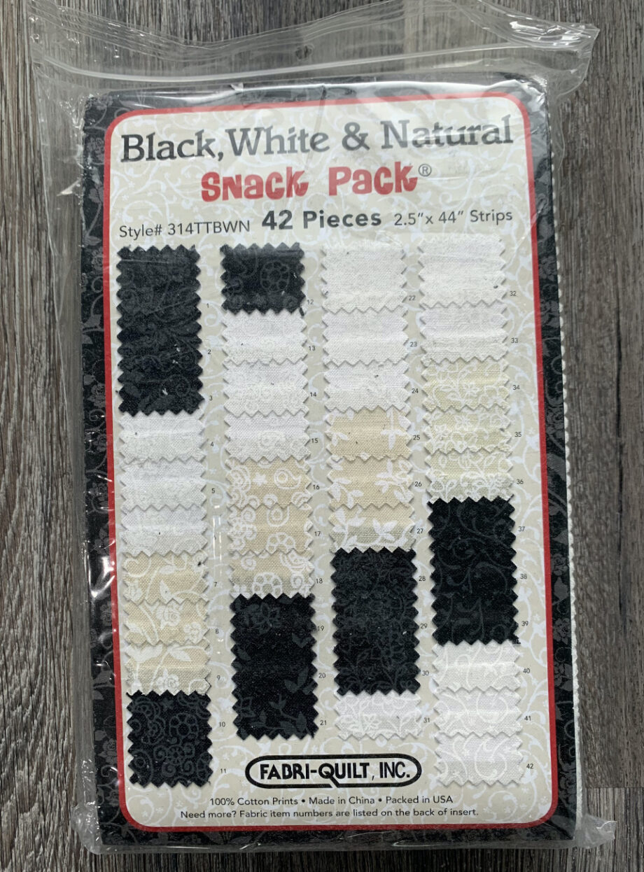 black, white & natural snack pack jelly roll fabric pack