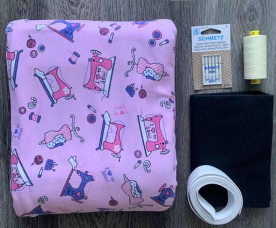 sewing machines on pink cotton spandex jalie jeanne pj kit