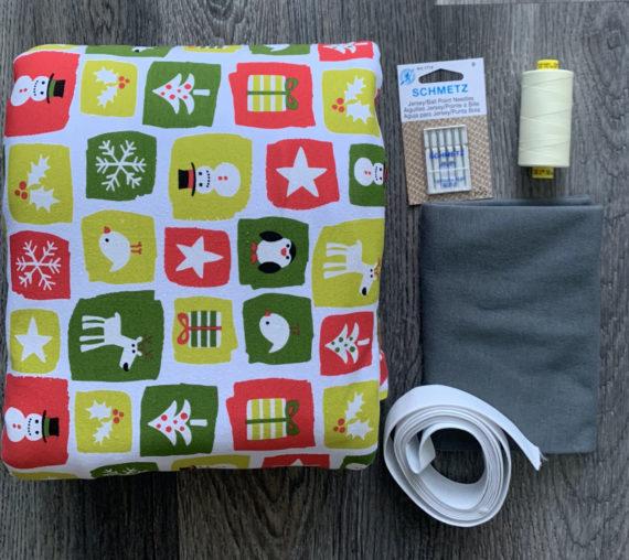 holiday blocks on white cotton spandex jalie jeanne pj kit