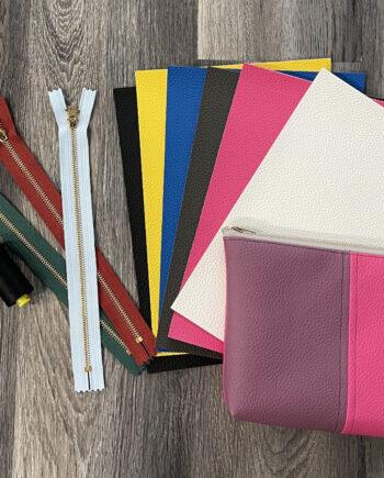 color block zip pouch